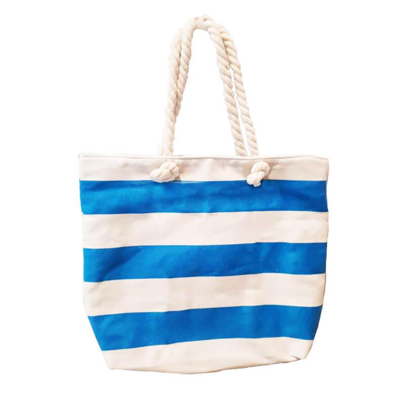 b1bb44725c Τσάντα θαλάσσης με μπλε και λευκές ρίγες
